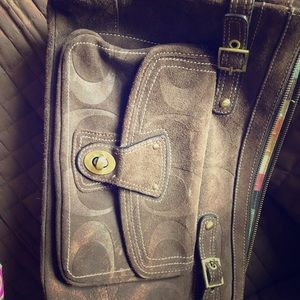 Dark brown suede leather Coach satchel purse